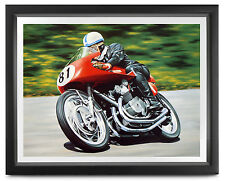HAND SIGNED John Surtees, MV Agusta Senior TT, 1956, COA, 48x42cm, Ltd Ed Print