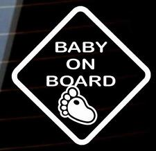 Baby on Board baby foot print car van window sticker many colours VW jdm