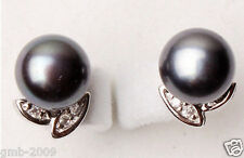 Fashion New Natural 9-10mm Black Culture Freshwater Pearl Silver Stud Earrings