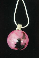 "PINK & BLACK Druzy AGATE PENDANT BEAD Necklace 20mm  925 SILVER 16"" SNAKE CHAIN"