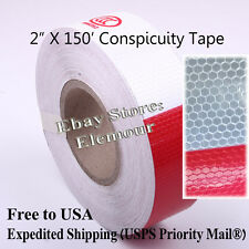 "2""x150' Truck Reflective Conspicuity Tape Safety warning Truck Trailer White Red"