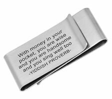 Double Sided Brushed Stainless Steel Money clip with Yiddish Proverb