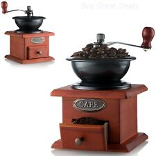 Antique Coffee Grinder Mill Manual Artisanal Hand Crank Vintage Wood Drawer -NEW