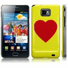 Samsung Galaxy S2 i9100 Quality Image Red Heart Hard Back Case Cover - Yellow