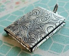 NWT Catherine Popesco Small Square Book Vintage Silver Locket Mother's Day Paris