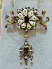 Antique Victorian sterling silver enamel garnet pearl figural flower brooch pin