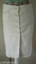 FRENCH CONNECTION FCUK white COTTON & LINEN button through skirt 10 38 NEW