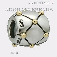 Authentic Chamilia Silver & 14kt Gold Dot X Bead KD-17 RETIRED