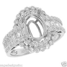 9X7 MM Oval Baguette Diamond Semi Mount Engagement Ring 18K White Gold 1.19CT