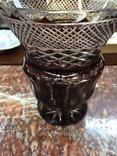 19th c. Antique Moser Bohemian Czech RUBY TO CLEAR LARGE VASE DEEPS CUTS