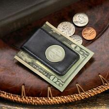 Mens Black Leather Money Clip Personalized Monogrammed Gift Initials Groomsman