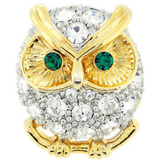 Fantasyard Crystal Owl Lapel Pin Brooch