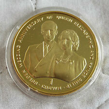 GIBRALTAR 1997 GOLDEN WEDDING ANNIVERSARY GOLDCLAD SILVER PROOF CROWN