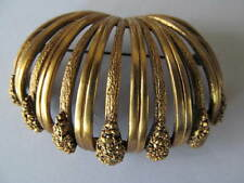 VINTAGE TORTOLANI MATTE GOLD~TEXTURED OPEN WORK DOMED WATERFALL BROOCH PIN