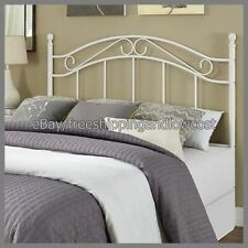 Headboard Bed Bedroom Frame Furniture Traditional Metal White Full Queen Size