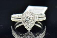 Ladies 14K White Gold Princess Cut Diamond Pear Shape Engagement Ring Bridal Set