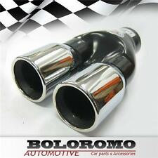 Universal Car Twin Exhaust Pipes Muffler Trim Chrome