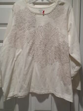 Liz & Me Cream Ivory Cotton & Polyester Shirt / Top Gold Floral Size 3X 26 / 28W