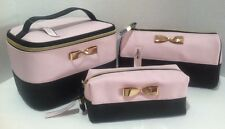 3 Victoria's Secret Travel Train Case & Cosmetic Bags Pink Black Gold Bow Lot