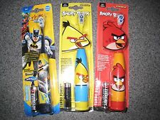 NIP BATMAN & ANGRY BIRDS RED BIRD YELLOW BIRD BATTERY POWERED TOOTHBRUSHS