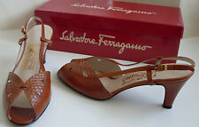 SALVATORE FERRAGAMO Designer Brown Tan Sandals Italy Size UK6 EU39 US8.5C MINT