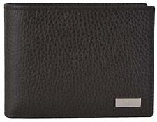 New Gucci Men's 143384 Brown Leather Plaque Logo W/Coin Pocket Bifold Wallet