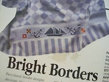 2 Bright Floral Nautical Towel RIBBAND Border OOP Cross Stitch PATTERN (T)
