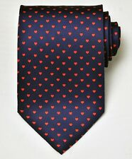 NEW Chopard Dark Blue Red Hearts Mans Silk Tie 100% Authentic Italy Made