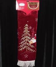 """Christmas Tree Skirt Deep Red Velvet with Winter Scene & Fringe~NWT's~48"""""""