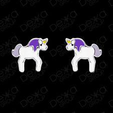 925 Sterling Silver Unicorn Stud Earrings Studs Girls Women Children Purple Kids