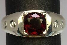 Natural Garnet Silver Men's Ring, FREE SIZING