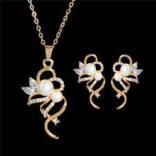Stud Earrings Necklace Swarovski Elements 18k Gold Plated Crystal Jewellery Set