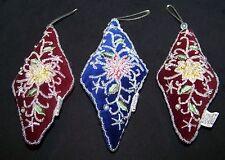 Velveteen Beaded Christmas Ornaments Set of 3 Burgundy Navy Blue Beads Flowers
