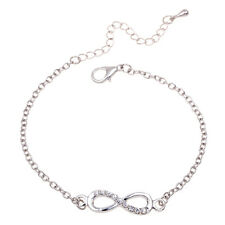 New Charming Jewelry Chic Cute Silver Crystal Rhinestone Infinity Chain Bracelet