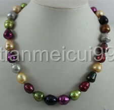 """Multi colors Freshwater pearl necklace 11-14 MM 18""""INCH"""