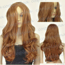 24 inch Hi_Temp Series Light Brown Midpart Curly Wavy Cosplay DNA Wigs 38LLB