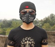 Metal Holes Studded Punk Biker Motorcycle Leather Half-face Mask Masquerade Mens