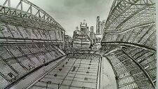 SEATTLE SEAHAWKS (CENTURY LINK FILED) INK DRAWING (ARTWORK) ART (RARE)!!?