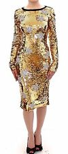 NWT $18800 DOLCE & GABBANA Gold Sequined Star Swarovski Crystal Dress IT44 /US10