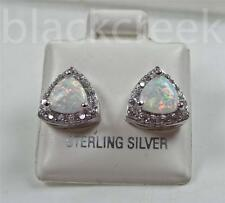 925 Sterling Silver ~6mm Trillian Lab Created  Opal~White C.Z.~  Stud Earrings