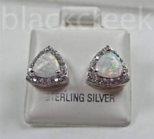 925 Sterling Silver ~6mm Trillian Lab Created  Opal~White C.Z.~  Stud Earrings