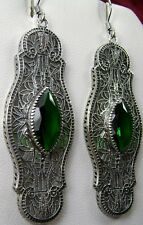 Marquise *Emerald* Deco 1920s Sterling Silver Filigree Earrings {Made to Order}