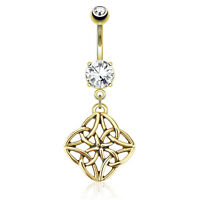 Gold Plated Stainless Steel Celestial Knot CZ Belly Bar / Navel Ring