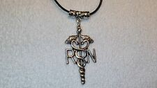 RN Nurse EMT Medical Charm Necklace Jewelry Pendant Leather Accessory Fashion