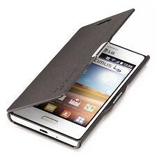 LG Optimus L5 Slim Flip Case E610 Cover Tasche Schutz Hülle Etui Schwarz