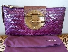 KOTUR Purple Straw Leather Flap Clutch Handbag Purse NEW $495