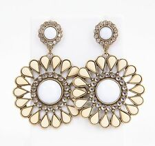 New Avon WHITE GLAM DRAMA Brass & Cream Flower EARRINGS - Large Vintage Style