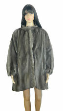 GRAY BLUE IRIS MINK FUR COAT LONG SLEEVES Sz.2XL Nerz-Visone-貂皮-ミンク