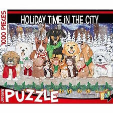 """""""Holiday Time in the City"""" Christamas Pets 1,000 Piece Jigsaw Puzzle by go!"""