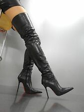 MORI ITALY SEXY OVERKNEE HIGH BOOTS STIEFEL STIVALI LEATHER CORSET NERO BLACK 37
